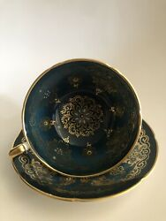 Paragon Teacup And Saucer Blue / Green Tea Cup By Appointment To Her Majesty
