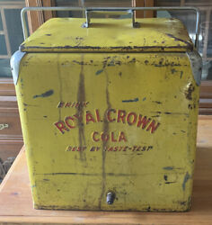 Vintage 1950s Royal Crown Cola Yellow Metal Ice Chest/cooler With Removable Tray