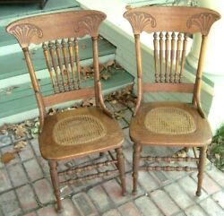 Two Antique Oak Traditional Pressed Back Cane-bottom Bannister-style-back Chairs