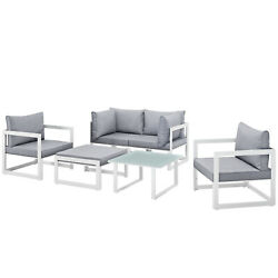 Modway Fortuna 6 Piece Outdoor Patio Sectional Sofa Set Eei-1723-whi-gry-set