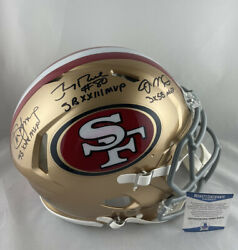 Montana Rice And Young Signed 49ers Full Size Authentic Helmet Bas Coa W50272