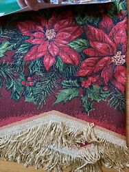Videt Linen Holly Poinsettia Christmas Tapestry Valance Curtain 60quot; x 15quot; NWT
