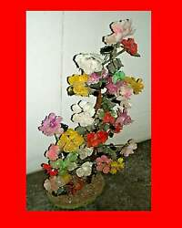 Vintage Oriental Flower Tree With Carved Glass Petals And Leaves