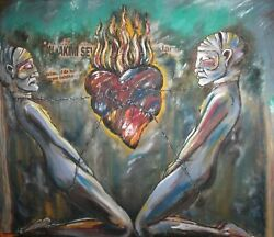 2003 Large Surrealist Oil Collage Painting Fantasy Figures Signed