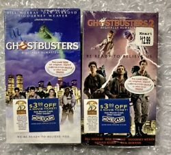 Both Factory Sealed Ghostbusters 1 And 2 Vhs Digitally Remastered W/ Watermarks