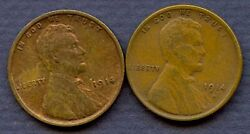 2 Coin Set- 1914- Pands Lincoln Wheat Cents- Red Book Value 60.00++  A047
