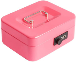 Cash Box With Combination Lock Safe Metal Small Box With Money Tray Pink