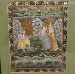 Antique Indian Folk Art Lord Radha Krishna And Women Framed Paintings India