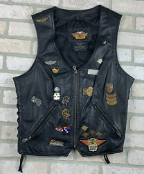 Womens Large Harley Davidson Leather Vest W/many Patches And Collectible Pins