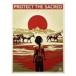 Shepard Fairey Print S/n Obey Giant Protect The Sacred Poster Sold Out Banksy