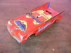 Batman 70's Tin Batmobile Lincoln Taiwan Red Battery Op Toy Parts