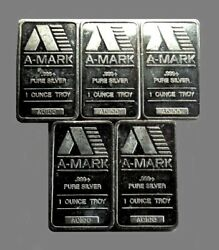 Lot Of 5 - Vintage A-mark 1 Troy Oz. Pure Fine Silver 999+ Sealed Silver Bars
