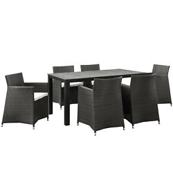 Modway Junction 7 Piece Outdoor Patio Dining Set Eei-1748-brn-whi-set