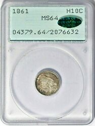 1861 P Seated Liberty Half Dime 10c Pcgs And Cac Ms64 Ogh Superb