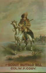 The Scout Buffalo Bill Col W F Cody Wyoming Western Vintage Chrome Post Card