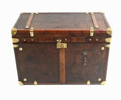 Vintage Leather Trunk Table Steamer Luggage Box Interiors