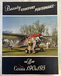 Cessna Vintage 190 And 195 1940s Color Factory Fold Out Brochure Rare Oem Gift