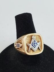 Vintage 14kt Yellow Solid Gold Men's Masonic Ring 13.4 Grams Ring Size 8.5