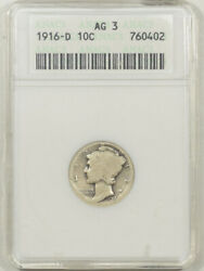 1916-d Mercury Dime - Anacs Ag-3 Fresh And Problem Free Old White Holder