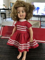Vtg Shirley Temple 13 Composition Toy Doll Sleep Eyes W/dress And Wardrobe Trunk