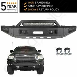 Texured Black Front Bumper W/ 1200lbs Winch Plate And Leds For 07-13 Toyota Tundra