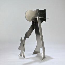 William Dickey King Modernist Aluminum Puzzle Sculpture Of A Man With Bird - Vr