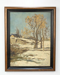 Charles Volkmar 1841 - 1914 Oil On Board Winter Landscape Painting - 2d