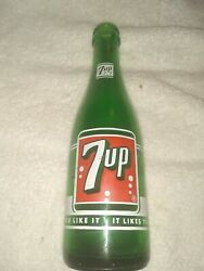 Vintage Seven-up 1950 Brooklynny And Mineolany Bottle 7oz Green Glass Duraglas
