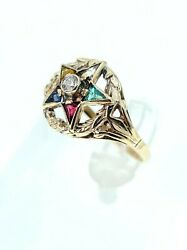 Vintage Antique Estate 14k Yellow Gold Diamond Oes Order Of Eastern Star Ring