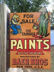 Baer Bros. Paints Two Bears New York Usa Double Sided Flange Porcelain Sign Barn