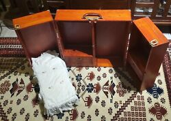 Vintage Wood American Girl Doll Wardrobe With Murphy Bed In Travel Case