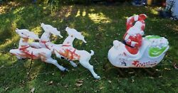 Vintage 70s Empire Light Up Santa Sleigh Blow Mold 38x36 With 3 Reindeer