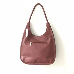 New Anthropologie Antik Kraft Large Hobo Red Wine Faux Leather Purse Tote Bag