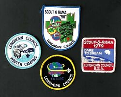 Lot Of 4 Longhorn Texas Council Boy Scout Patches Earth Polar Bear Scout O Rama