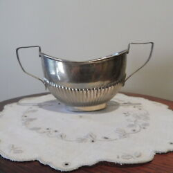 Antique Edwardian Hm St Silver Reeded Sugar Bowl Birmingham 1904 Clark And Sewell