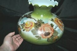 Antique Milk Glass Hand Painted Oil Lamp Shade Roses Olive Green Large