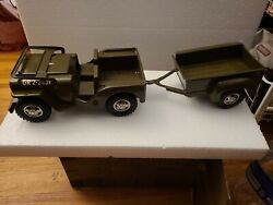 Tonka Green Army Jeep Gr 2-2431 With Trailer Vintage 1960's