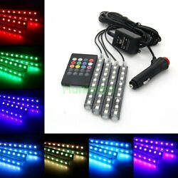 4in1 9led 7 Color Car Interior Footwell Neon Decorative Atmosphere Light Strips