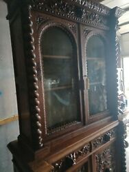 Antique Large Oak Hunters Cupboard Carved From France