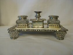 Antique English Silver Ink Stand By Tandj Settle Sheffield1821