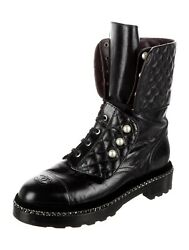 2017 Quilted Pearl Detail Lace-up Combat Combat Boots Size 42