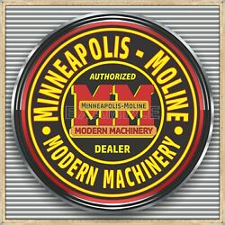 Minneapolis Moline Tractors Old Sign Remake Square Aluminum Sizes Up To 3' X 3'