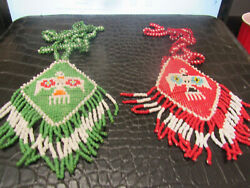 Two Native American Beaded Necklaces Repair Thunderbird Pendants Red Green