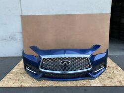Infiniti Q60 2017-2021 Oem Front Bumper Cover With Grills Complete/ Blue. 29k