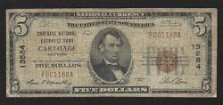 Carthage, New York, Charter 13584, 5.00, 1929 T-1, Vg/f, 20 Notes Reported
