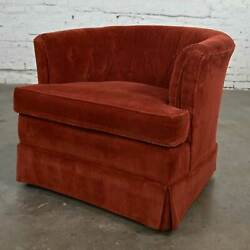 Burnt Orange Wide Wale Brushed Corduroy Tub Barrel Chair By Schuford For Century