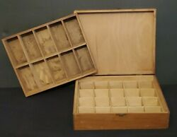 Antique Primitive Wood Box 30 Divided Sections Seeds Parts Rx Small Item Storage