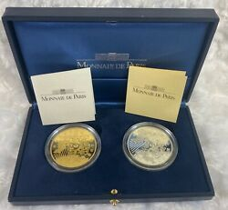 1999 2 Coin 1 Oz Silver And Gold Set France Europa 655957 Francs W/ Ogp And Coa