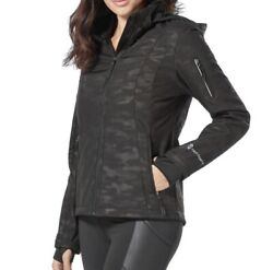 Free Country Womens Super Softshell Jacket Black Emboss Camo Size Xlarge New