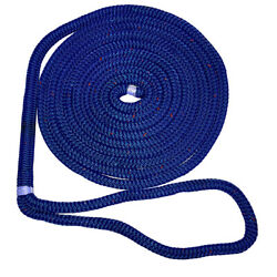 New England Ropes 5/8 X 50and039 Nylon Double Braid Dock Line - Blue W/tracer
